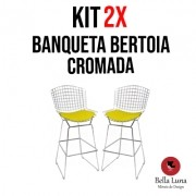 Kit 2 peças Banqueta Bertoia Cromada
