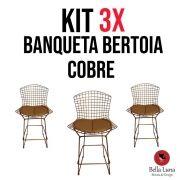 Kit 3x Banqueta Bertoia Cobre