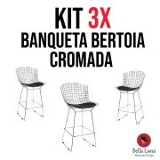 kit 3x Banqueta Bertoia Cromada