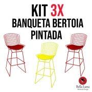 Kit 3x Banqueta Bertoia Pintada