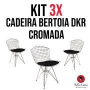 Kit 3x Cadeira Bertoia DKR Cromada