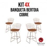 Kit 4x Banqueta Bertoia Cobre