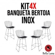 KIT 4X Banqueta Bertoia Inox