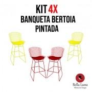 Kit 4x Banqueta Bertoia Pintada