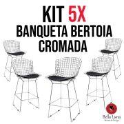 Kit 5x Banqueta Bertoia Cromada