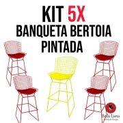 Kit 5x Banqueta Bertoia Pintada