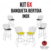 Kit 6x Banqueta Bertoia Inox