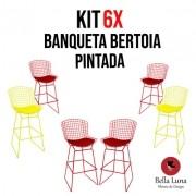 Kit 6x Banqueta Bertoia Pintada