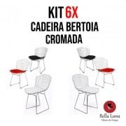 Kit 6X Cadeira Bertoia Cromada