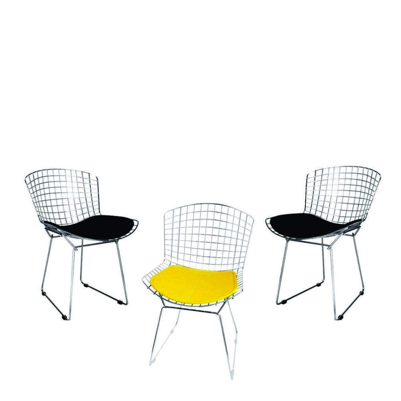 Kit 3x Cadeira Bertoia Cromada