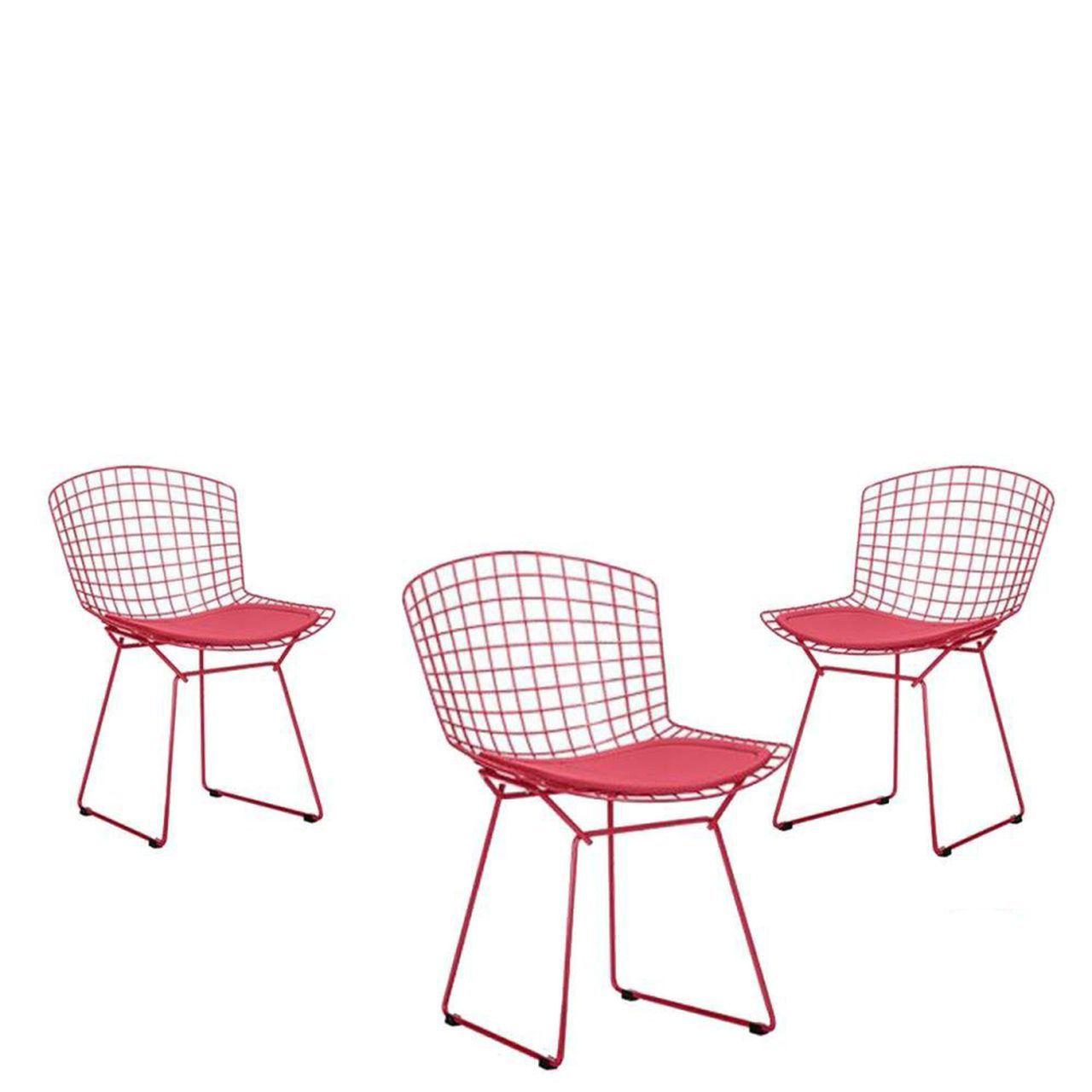 Kit 3x Cadeira Bertoia Pintada