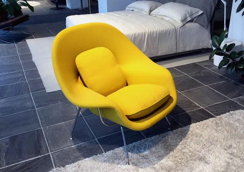 kit 4  Poltronas Womb Chair Couro natural