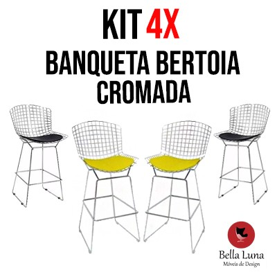 Kit 4X Banqueta Bertoia Cromada
