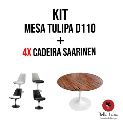 Kit Mesa Tulipa Saarinen D110 + 04 Cadeiras Saarinen S/ Braços