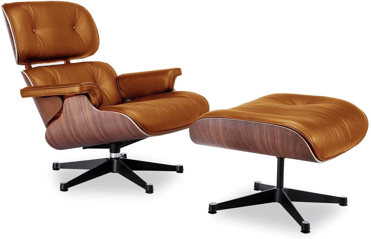 Poltrona Charles Eames com Puff couro envelhecido