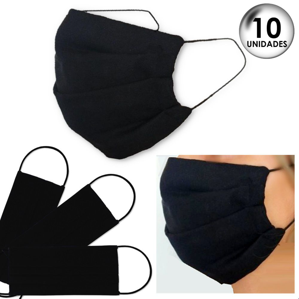 10 Unidades Máscara de Proteção Tecido Duplo Lavável Reutilizável 100% Algodão Tricoline - Preto
