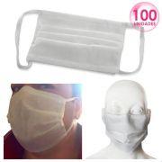 100 Unidades Máscara TNT Triplo Proteção Respiratória Descartável - Atacado