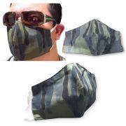 10 Unidades Máscara Tecido Duplo Reutilizável Resistente Sarja - Camuflado