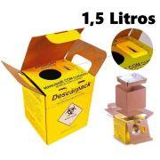 Caixa Coletor de Papelão Para Material Perfurocortante Agulhas Descarpack 1,5 Litros