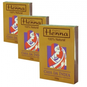 Combo 3 Henna Indiana 100% Natural 100g Para Cabelo Casa Da Índia