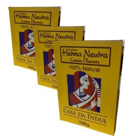Combo 3 Henna Indiana Neutra 100% Natural Cassia Obovata 100g Para Cabelo  Casa Da Índia
