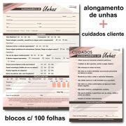 Ficha Anamnese Alongamento de Unhas + Bloco Cuidados Cliente - 100 Folhas