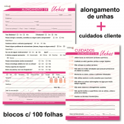 Ficha Anamnese Alongamento de Unhas PINK + Bloco Cuidados Cliente - 100 Folhas