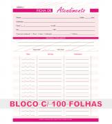 Ficha de Atendimento Sessão Massagem Estética Salão de Beleza Bloco 100 Folhas