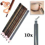 Kit 10 Lapis Dermografico Dermatografico Sobrancelhas Micropigmentação - Cinza