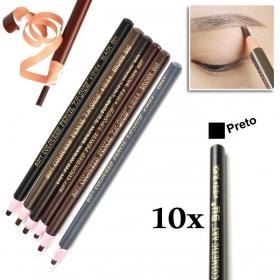 Kit 10 Lapis Dermografico Dermatografico Sobrancelhas Micropigmentação - Preto