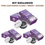 Kit 3 Henna Pronta em Creme Sobrancelha Makiaj Cream - Cores Castanhos