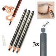 Kit 3 Lapis Dermografico Dermatografico Sobrancelhas Micropigmentação - Cinza