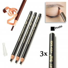 Kit 3 Lapis Dermografico Dermatografico Sobrancelhas Micropigmentação - Preto