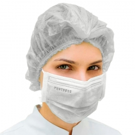 Kit 50un Mascara Tripla Proteção + 100un Touca Descartável ProtDesc - BRANCO