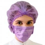 Kit 50un Mascara Tripla Proteção + 100un Touca Descartável ProtDesc - LILAS