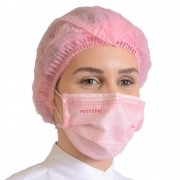 Kit 50un Mascara Tripla Proteção + 100un Touca Descartável ProtDesc - ROSA CLARO