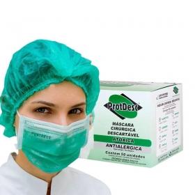 Kit 50un Mascara Tripla Proteção + 100un Touca Descartável ProtDesc - VERDE