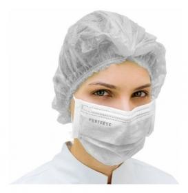 Kit 50un Mascara Tripla Proteção PROTCLEAN + 100un Touca Descartável ProtDesc - BRANCO