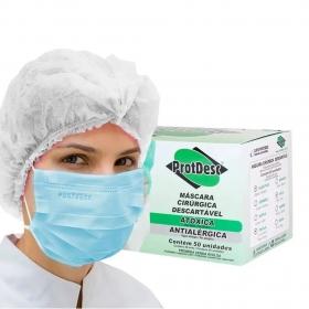 Máscara Tripla Proteção Bacteriana Descartável ProtDesc AZUL - Caixa 50un