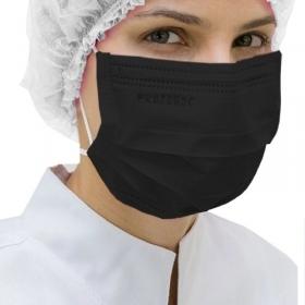 Máscara Tripla Proteção Bacteriana Descartável ProtDesc PRETA - Caixa 50un