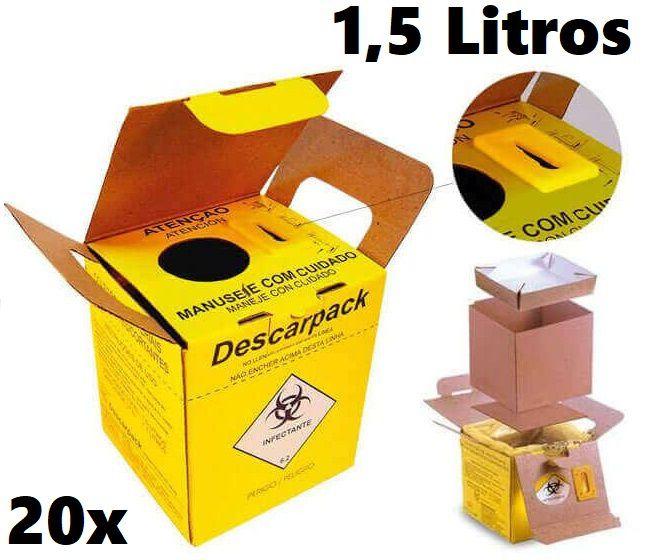 20 Caixas Coletor de Papelão Para Material Perfurocortante Agulhas Descarpack 1,5 Litros