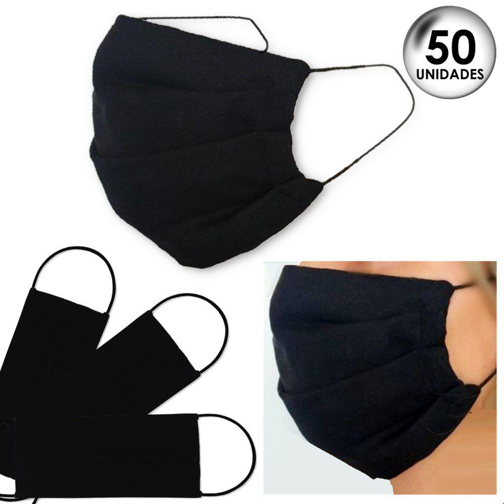50 Unidades Máscara de Proteção Tecido Duplo Lavável Reutilizável 100% Algodão Tricoline - Preto