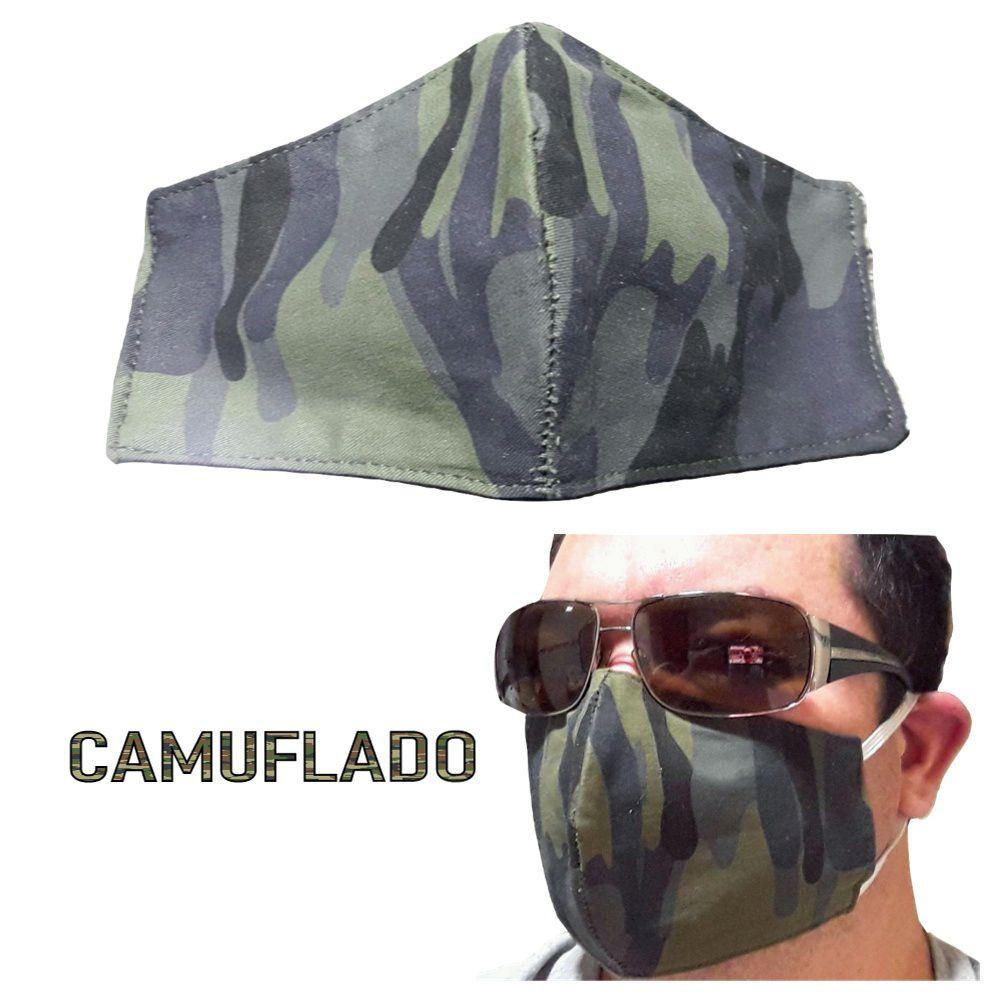 50 Unidades Máscara Tecido Duplo Reutilizável Resistente Sarja - Camuflado