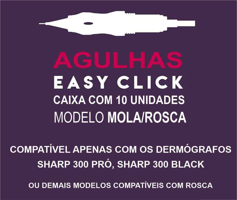 Agulha Easy Click C/ Mola Dermocamp Sharp Pro 300 Sharp Black - 10 Unidades