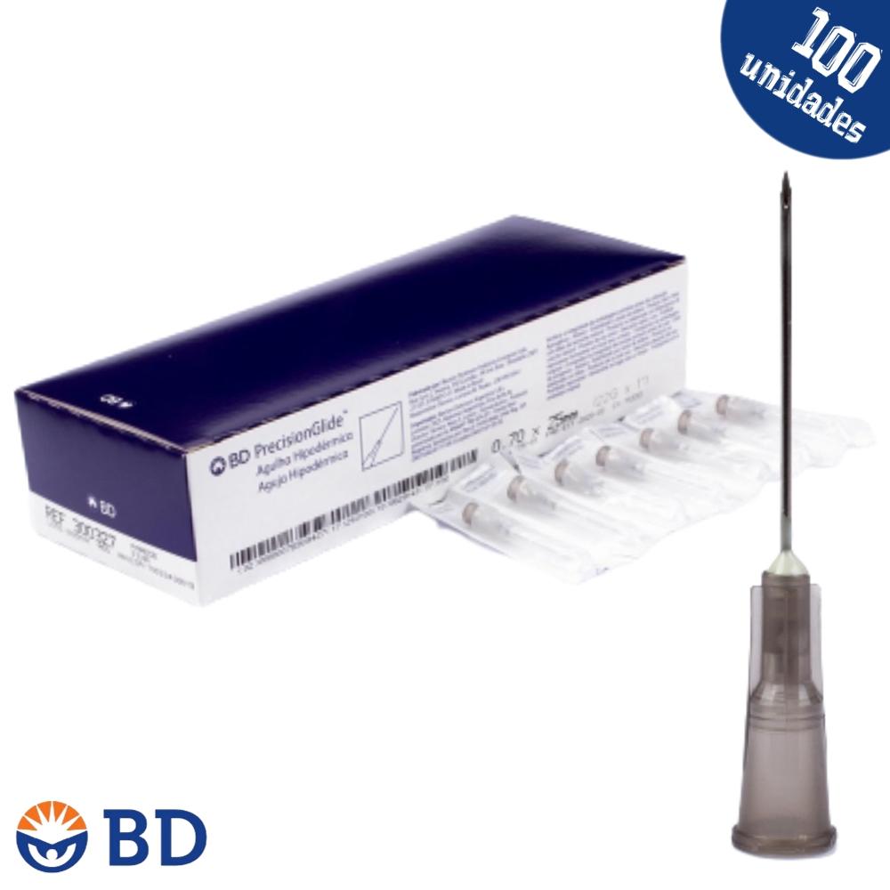 Agulha Hipodérmica 25x7mm 22G 1 - Preto - PrecisionGlide BD - 100un