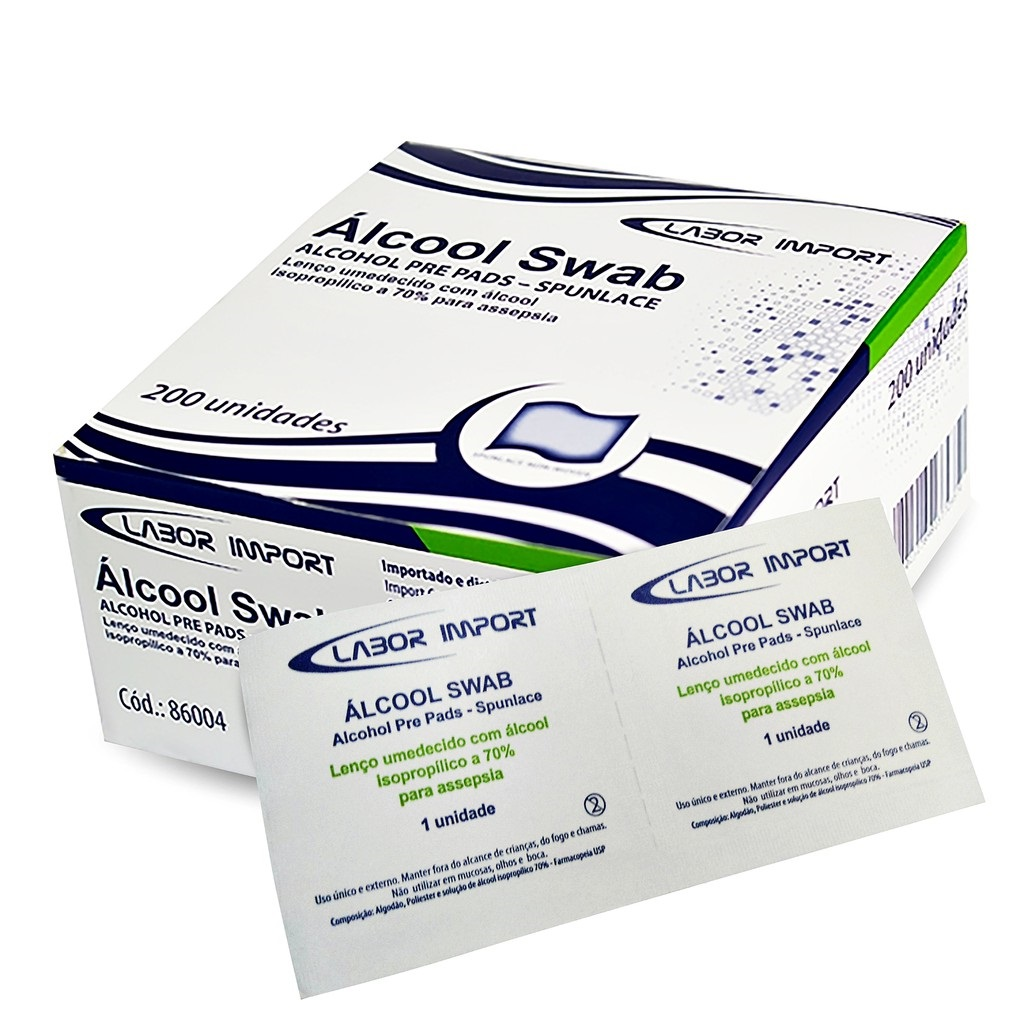 Álcool Swab Isopropílico 70% Sache Lenço Umedecido - 200un - Labor Import