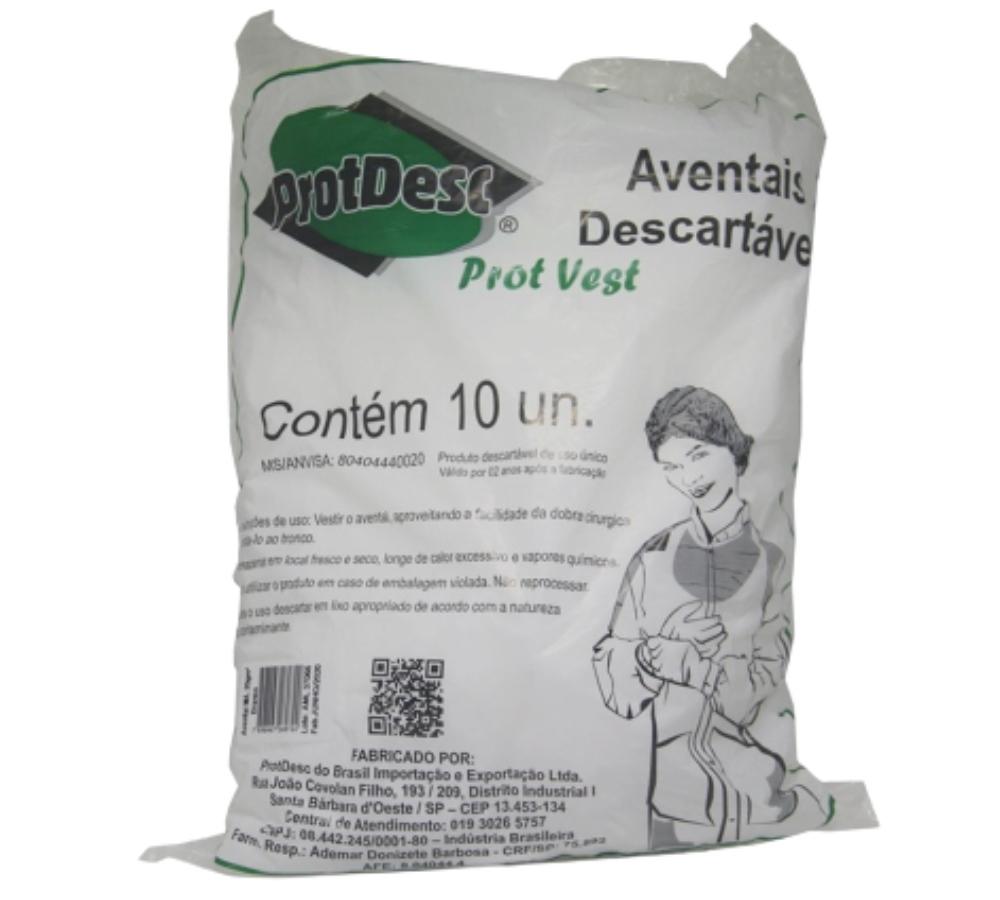 Avental  Protdesc Manga Longa Tiras 20gm - BRANCO - ProtDesc - 10 Unidades