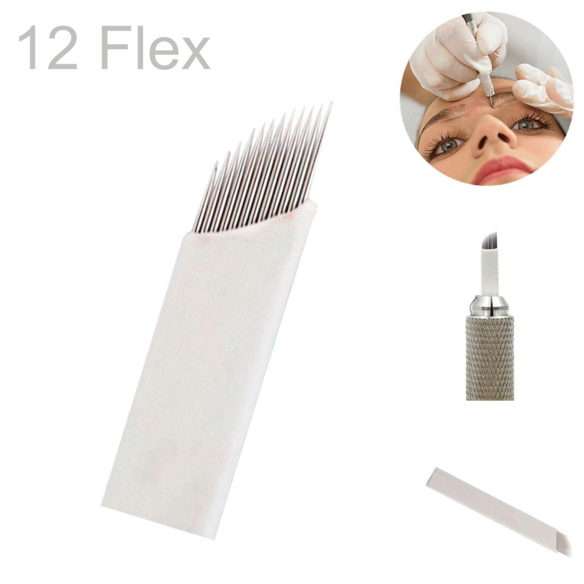 Caneta Tebori Ponta Dupla Cristal Micropigmentação Alumínio Lilás + 10 Un Lamina 12 Flex