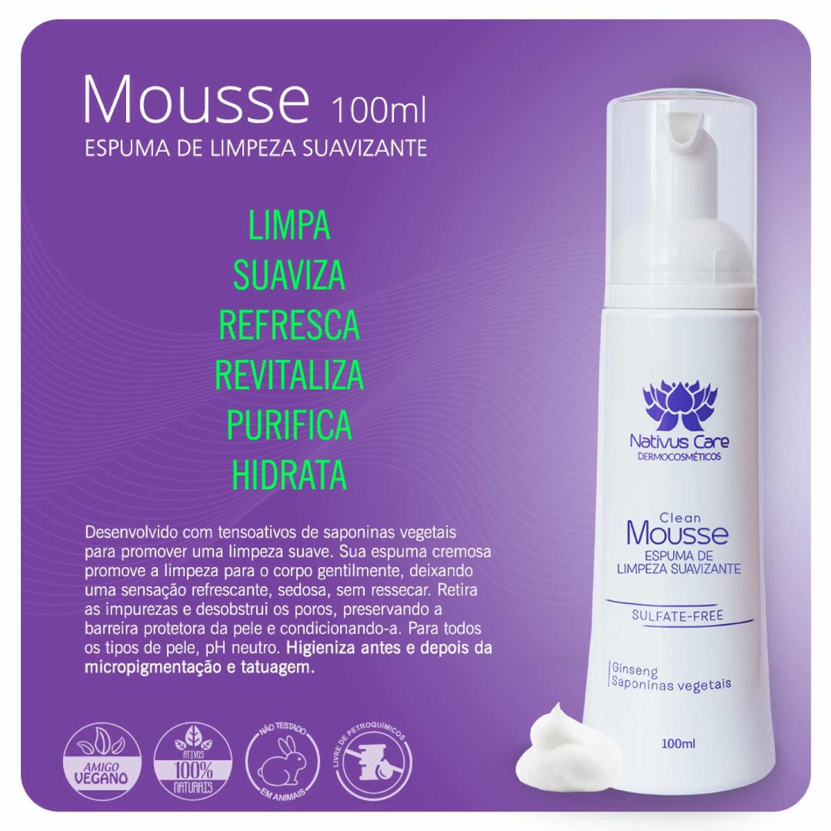 Clean Mousse Limpeza Suave Tattoo Micropigmentação Nativus Care 100ml