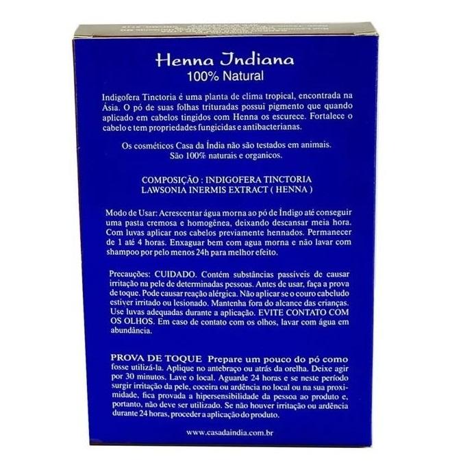 Combo 3 Henna Indiana 100% Natural Indigo 100g Para Cabelo Casa Da Índia